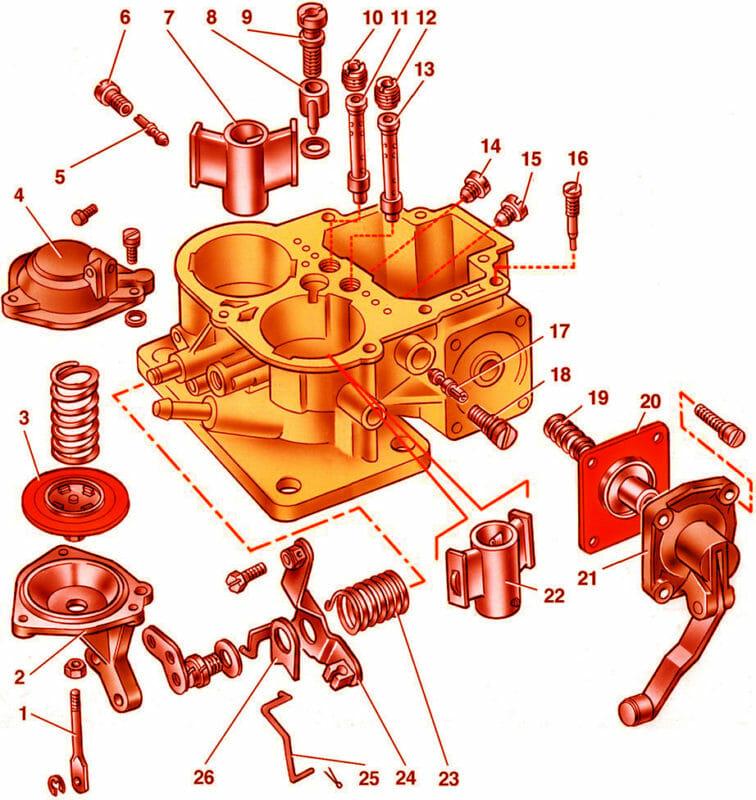 Детали корпуса карбюратора 2107-1107010 на схеме
