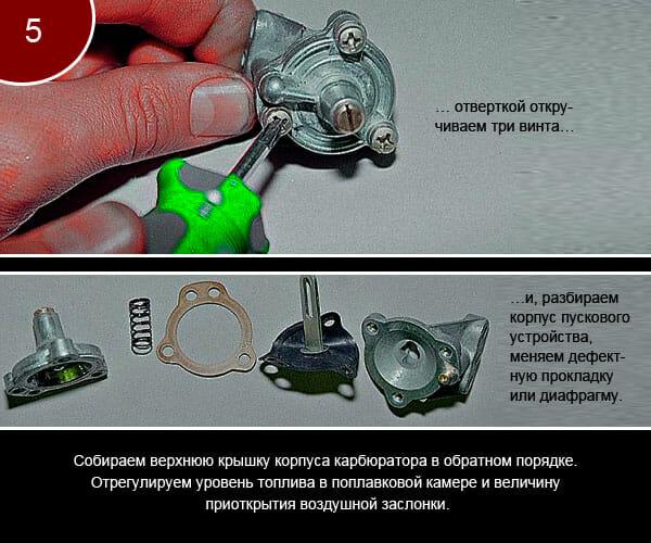 Как разобрать и проверить детали крышки карбюратора - 5