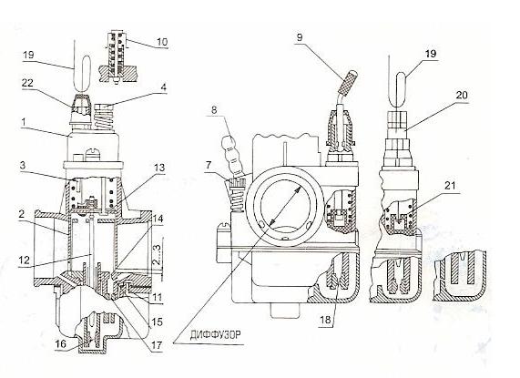 Схема карбюратора K - 65Ж