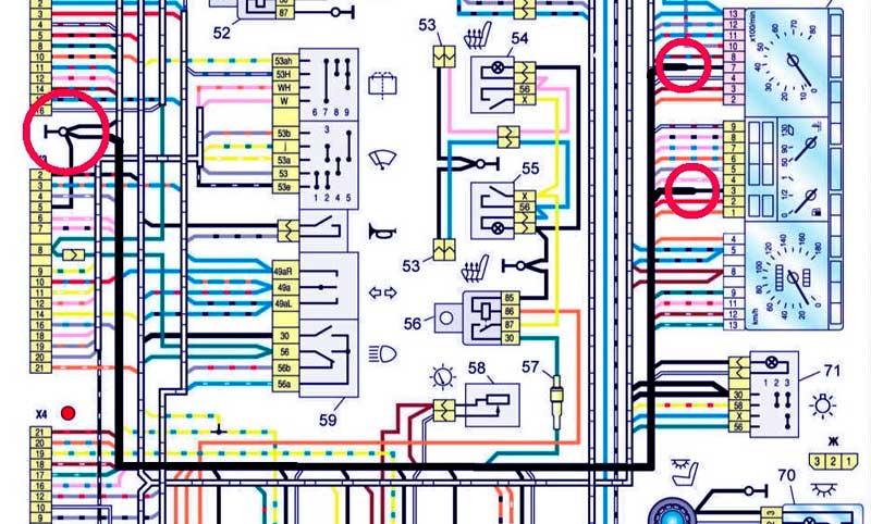 Расположение провода массы на приборной панели