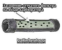 Засорение сетчатого фильтра на входе карбюратора