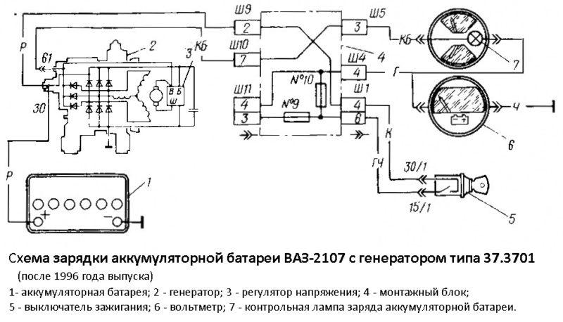 Схема подключения генератора на ваз 2107 карбюратор
